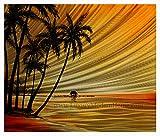 MWA02 Beach Paradise 2 - 20'' X 24'' Hawaii Paradise Sunset Beach Palm Trees Modern Aluminum Wall Art Painting Abstract Sculpture Artwork Decor
