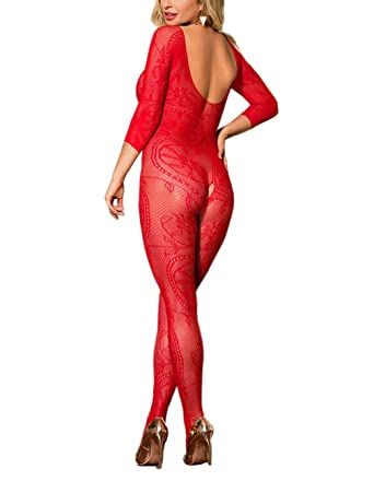 bd89b63327a Amazon.com: Lookswe Fishnet Bodystockings Women Sexy Half Sleeve Mesh  Lingerie Clubwear Fit S-XXL: Clothing