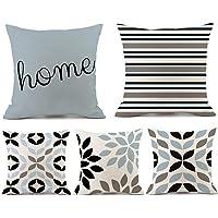 Paquete de 5 fundas de almohada geométricas coloridas fundas de almohada de lino, fundas de almohada decorativas fundas…