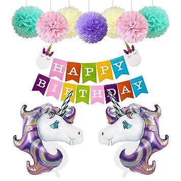 Happy Birthday Girlande Einhorn Luftballon Deko Party Zubehör Kinder