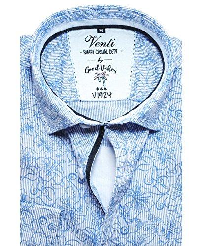Venti Slim Fit Smart Casual Langarmhemd weiß hellblau Streifen-Floral-Dessin 172681000-107