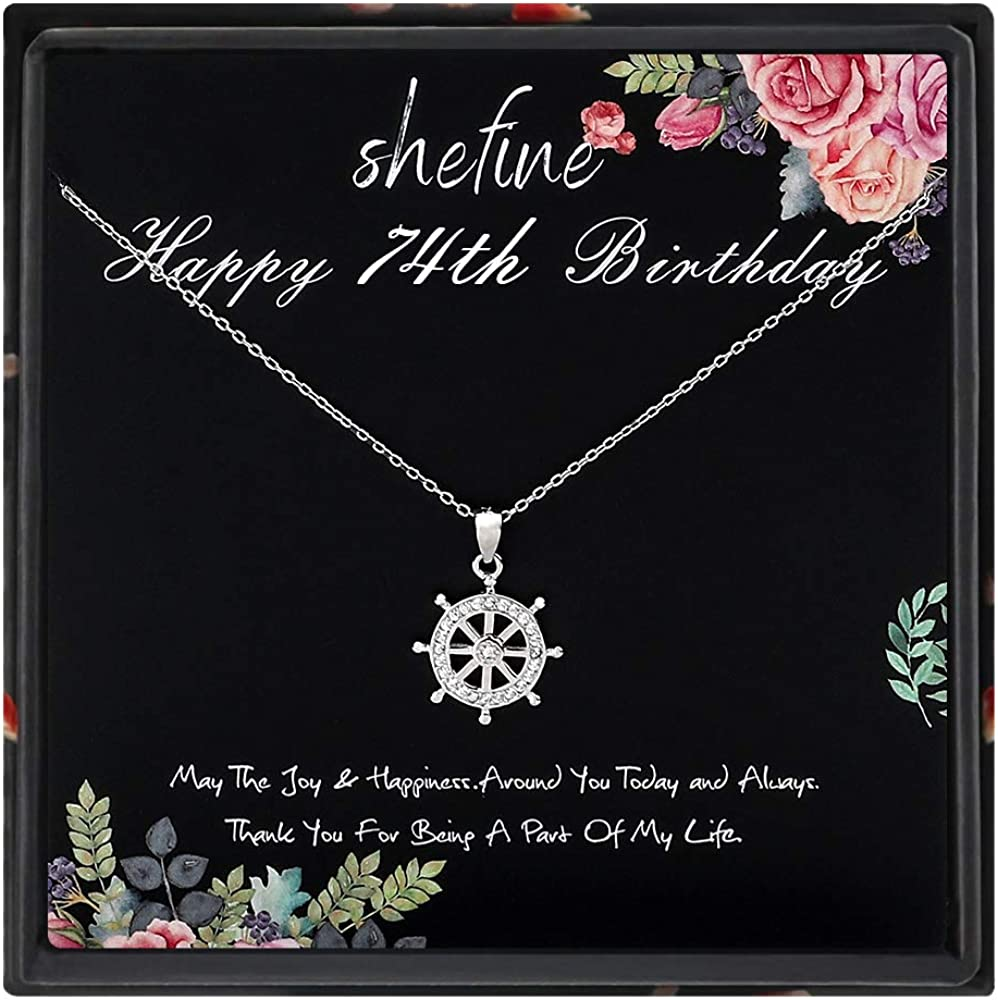 74th Birthday Gifts for Women Funny 74th Birthday Gifts for Women 925 Sterling Silver Womens Rudder Anchor Sailor Navy Necklace 74 Year Old Birthday Gifts for Women
