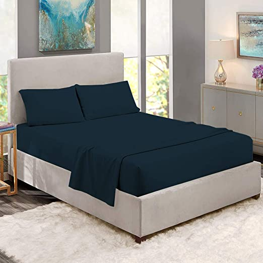 1500 Thread Count Egyptian Cotton 4 Piece Bed Sheet Set King 1500TC DEEP Pocket Solid Navy