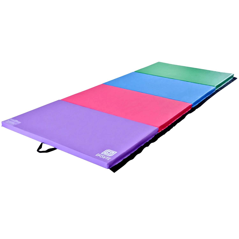 Modern-Depo Junior PRO Gymnastics Kip Bar w/ 10'x4'x2 Tumbling Folding Mat   Adjustable (3'- 5') Training Horizontal Bar Beech Wood - Purple by Modern-Depo (Image #2)
