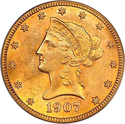 - 1907 S $10 Liberty Gold Ten Dollar MS63 PCGS