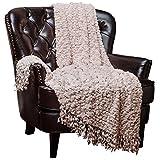 Chanasya Super Soft Beautiful Elegant Decorative Woven Popcorn Texture Couch Bed Beige - Ivory Beige Throw Blanket With Ball Fringe
