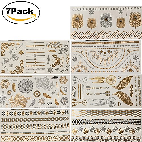 Jewelry Face Hawaiian (NaTape Premium Temporary Metallic Henna Tattoos, 7 Sheet Gold Silver Black and Turquois Shimmer Fake Jewelry Tattoos Bracelets Feathers Wrist and Arm Bands More Than 80 Designs Temp Tattoos)