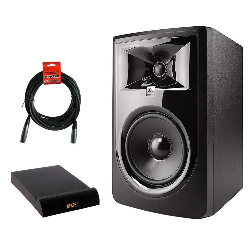 JBL 306P MkII Powered 6.5'' Two-Way Studio Monitor with IP-M Isolation Pad (Medium, Single) & 20' XLR Cable Bundle by JBL (Image #1)