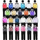 5pc Baby Toddler Boy Formal Tuxedo Suit BLACK Pants Shirt Vest Bow tie Hat 5-7 (Size: 5, White)