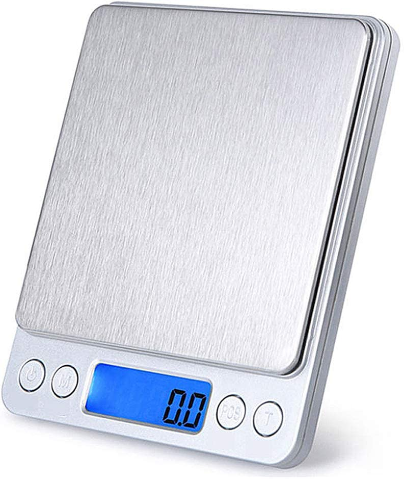 Digital Kitchen Scale,Multifunction Precision Jewelry Weight Scale,Mini Pocket Food Scale with 2 Trays,Cooking Baking Scale,Auto Off,Tare,LCD Display(Silver,0.1/3000g)