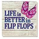 CounterArt Better in Flip Flops Absorbent Coasters, Set of 4