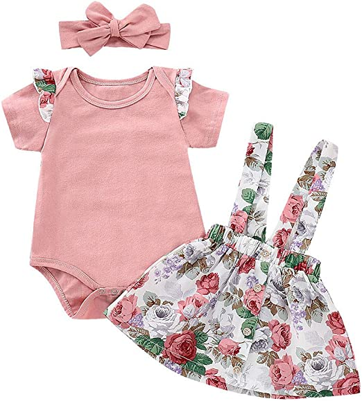 Newborn Kids Baby Girl Floral Ruffle Tops Pink Bib Strap Pants Outfits Clothes
