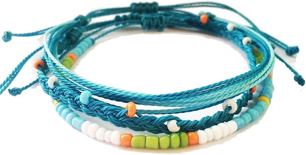 Althrorry Beaded Anklet Bracelet Set Boho Anklet Handmade Braided String Ankle Bracelet (3 Pieces)
