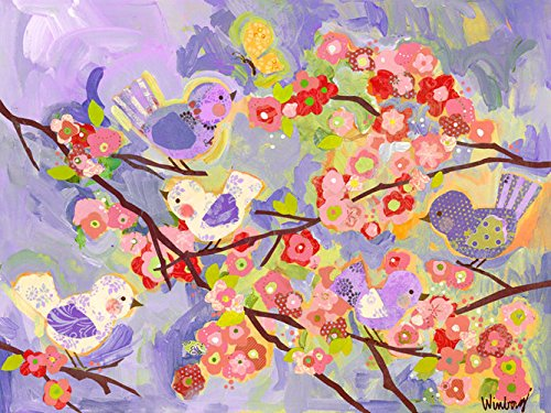 Oopsy daisy cherry blossom birdies lavender and coral stretched canvas wall art by winborg sisters, 40 by 30-inch