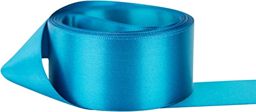 Turquoise Blue Satin Ribbon Wire Edge One and Half Inch Width Choose Length