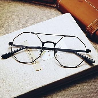 edaa8859f4 Sunyan Metal polygon flat optical lens men s Korean personality tide GLASSES  BOX girl stylish eye the