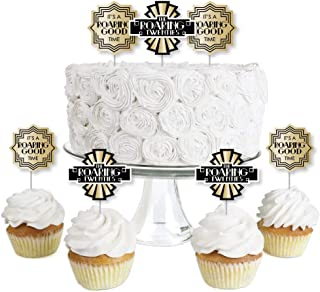 product image for Big Dot of Happiness Roaring 20's - Dessert Cupcake Toppers - 1920s Art Deco Jazz Party Clear Treat Picks - Set of 24