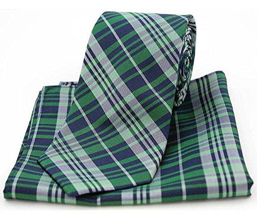 David Van Hagen Mens Tartan Pattern Tie and Pocket Square Set - Green -