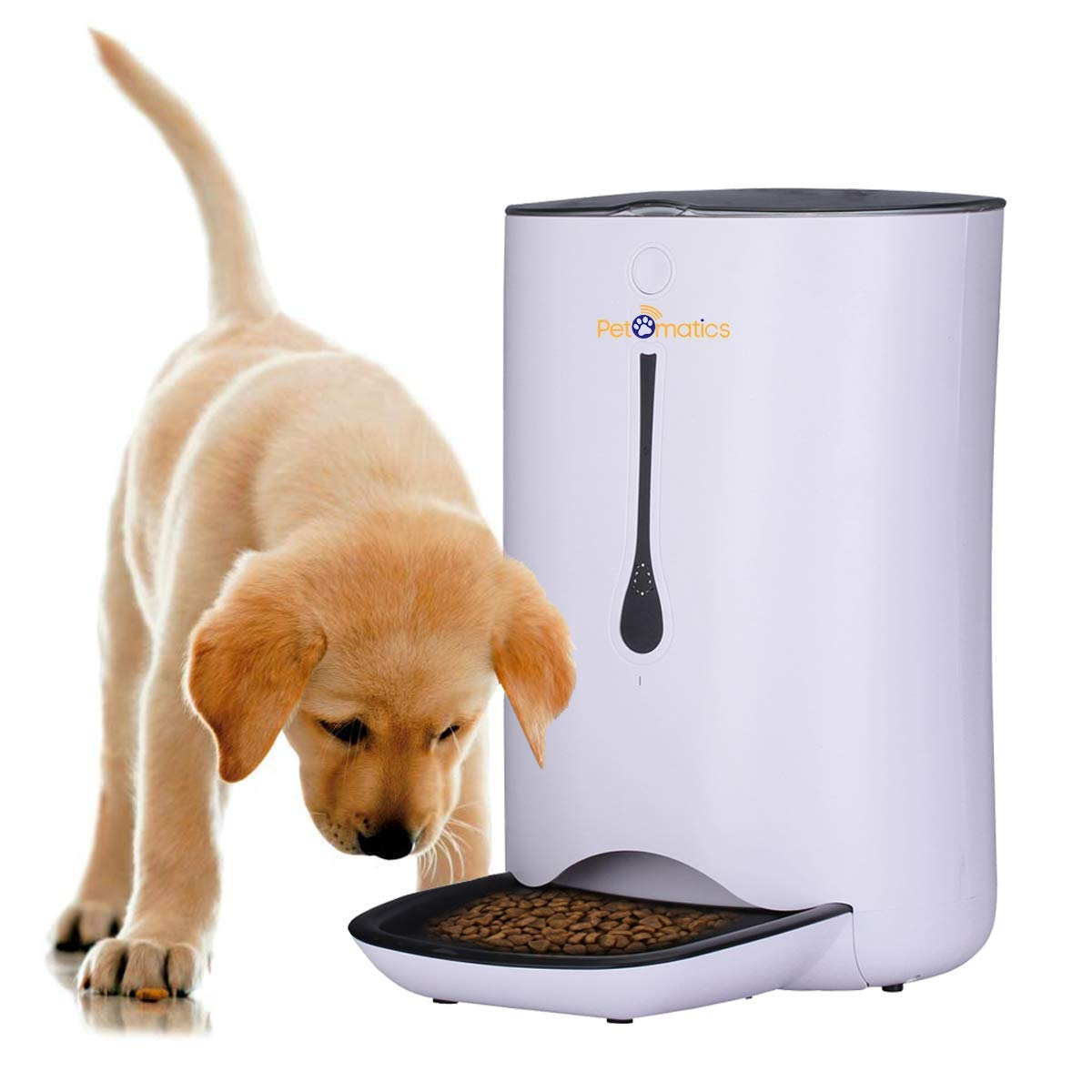 Automatic Pet Feeder Food Dispenser for Cats and Dogs, Programmable Portion Control Meal Scheduling, Voice Control Pet Feeder 4 Meals per Day, Battery & Power Supply Pet Feeder by PetOmatics