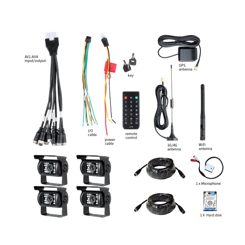 3G + GPS + WIFI, GISION 4CH móvil AHD DVR Grabador de audio / video en tiempo real con visión remota + 4pcs Cámaras AHD 2.0MP + Kit de vigilancia de cables ...
