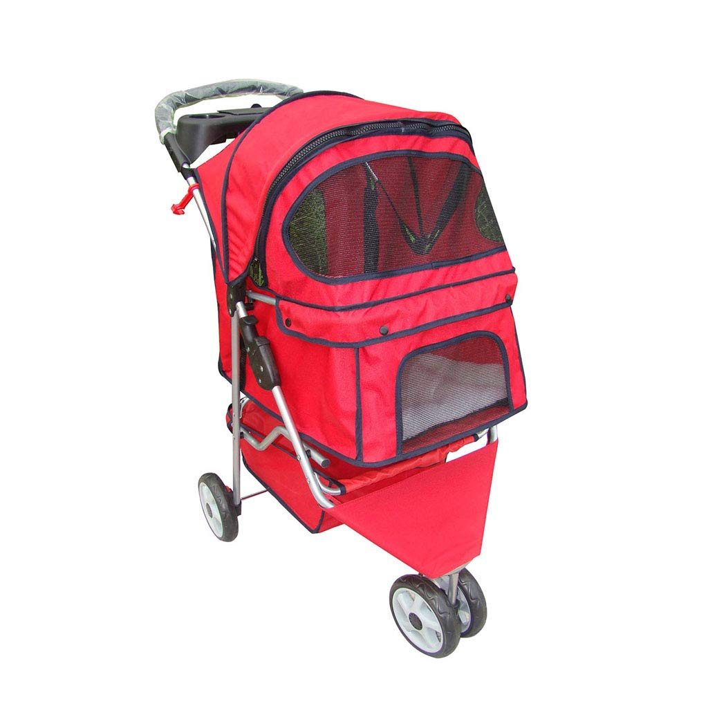 A A3 Pet Stroller Dog Cat Pushchair, Can Be Flipped Four-Wheeled Pet Travel Carrier Big Wheel Pet Sports Car. Dog cart (color   A)