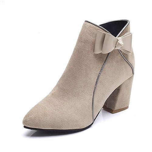 Botines para Mujer Zapatos de tacón Cuadrado Moda Cremallera Otoño Invierno Arco Nudo Zapatos: Amazon.es: Zapatos y complementos