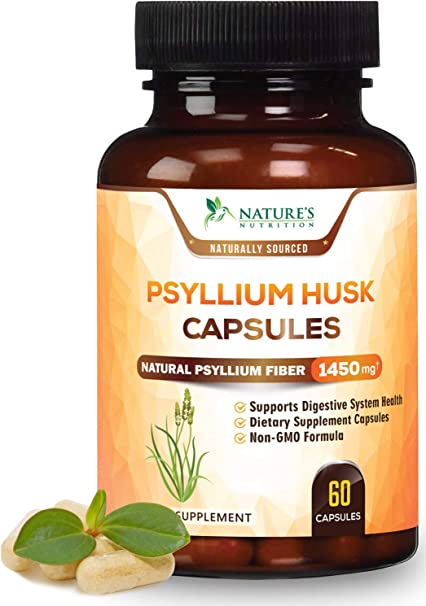 Psyllium Husk Capsules 1450mg - Premium Natural Soluble Fiber Supplement - Made in USA - Psyllium Fiber Helps Support Digestion & Regularity - 60 Capsules