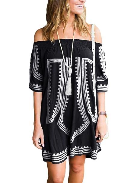 509e73460f GOSOPIN Bohemian Vibe Geometric Print Off The Shoulder Beach Dress One Size  Black