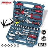 Hi-Spec 67 Piece Auto Mechanics Tool Kit including Professional 72 Teeth Quick Release Ratchet Handle,Sockets,Combination,Long Nose Pliers, Adjustable Wrench, Screwdriver Bits, Hex Key in Box