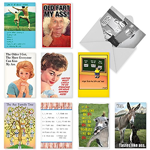 A1241 CLASSY SASSY AND ASSY: Assorted Box Of 10 Hilarious All-Occasion Cards, W/12 Envelopes (10 Designs, 1 Card Per Design)