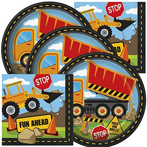 Construction Themed Birthday Party Napkins and Plates (Serves 16)
