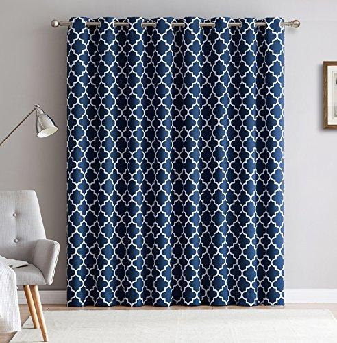 HLC.ME Lattice Print Thermal Grommet Blackout Sliding Patio Door Curtain - Navy Blue - 100