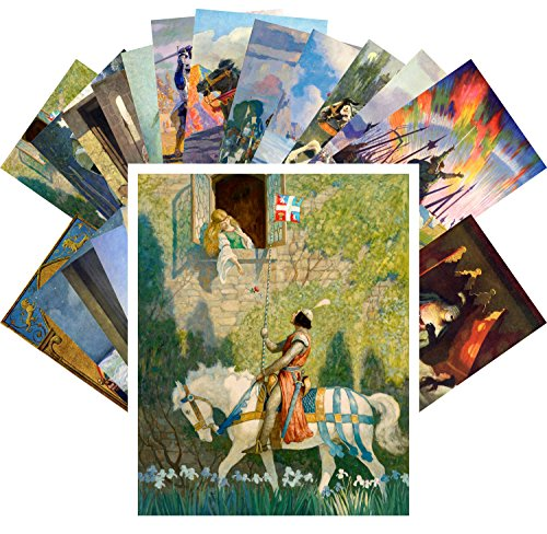 Postcard Set 24pcs Knight Princesse Medieval Tales Vintage Book Illustration by Newell Convers Wyeth