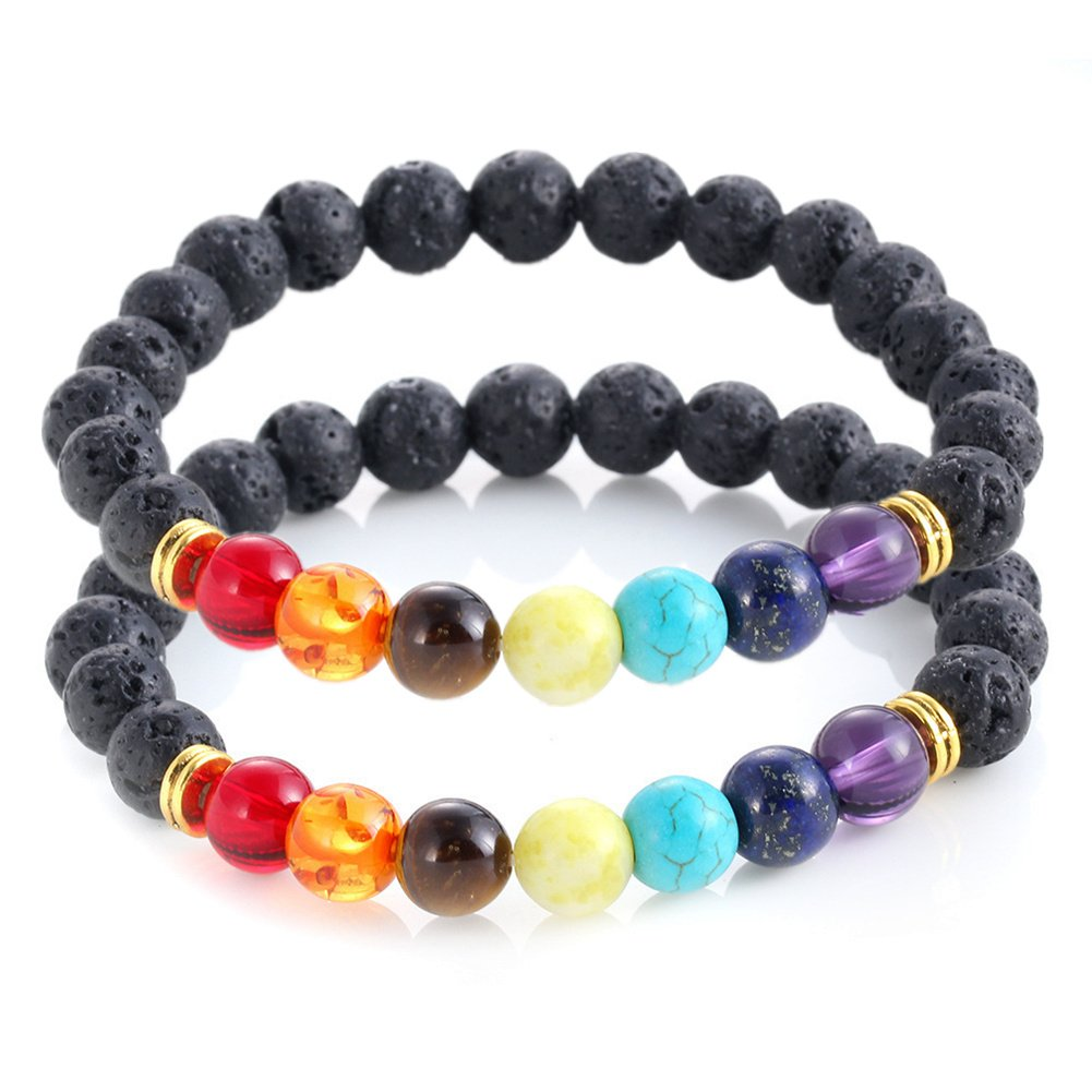 Natural 7 Chakra Lava Stone Beads Elastic Bracelet Essential Oil Diffuser Yoga Meditation Energy Prayer Jewelry YZN BYZN-008