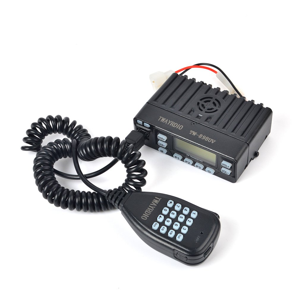 TWAYRDIO TW-898UV 25W Dual Band VHF//UHF Mini Car Two Way Radio CTCSS//DCS Amateur Radio Station Mobile Transceiver with Programming Cable Software