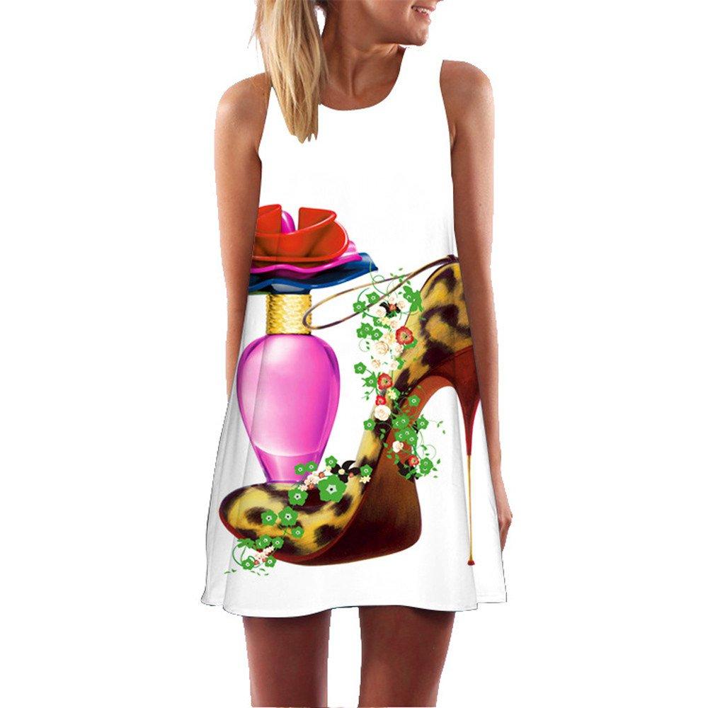 KYLEON Women Dresses Boho Vintage Summer Sleveless Dress Casual Beach 3D Print Short Mini Dress Tank Swing Sundress Red