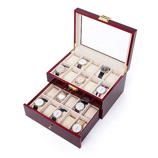YHEB Caja para Relojes-Madera Maciza, Caja de Almacenamiento de Reloj, Caja de Acabado, Reloj mecánico, Caja de colección de Pulsera, Caja de exhibición de Joyas de Regalo (Doble Capa roja 20 Rejilla: