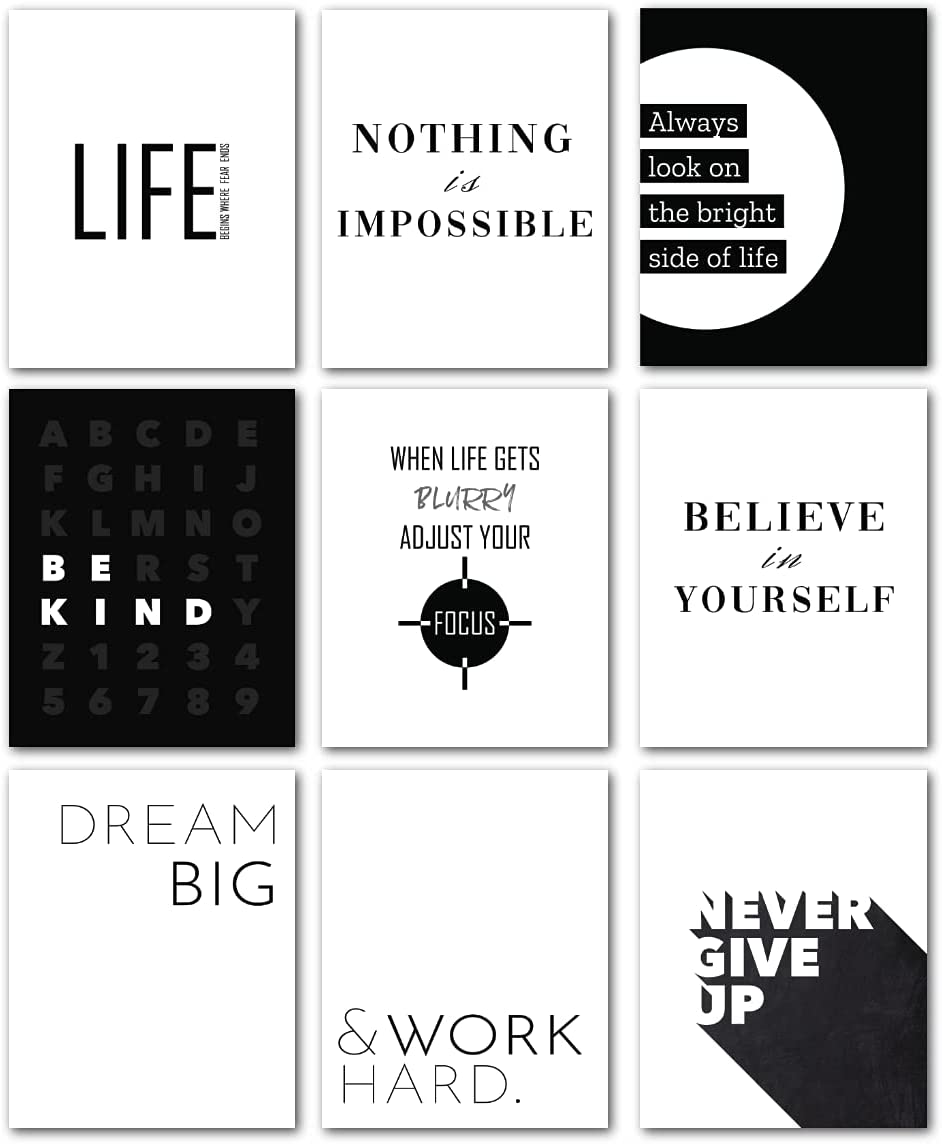 Avamie 9 Set Inspirational Wall Art, Motivational Wall Art, 8x10 inch Black and White Modern Minimalist Living Room, Bedroom and Office Wall Decor, Positive Quotes and Sayings Wall Art Prints Posters, Unframed