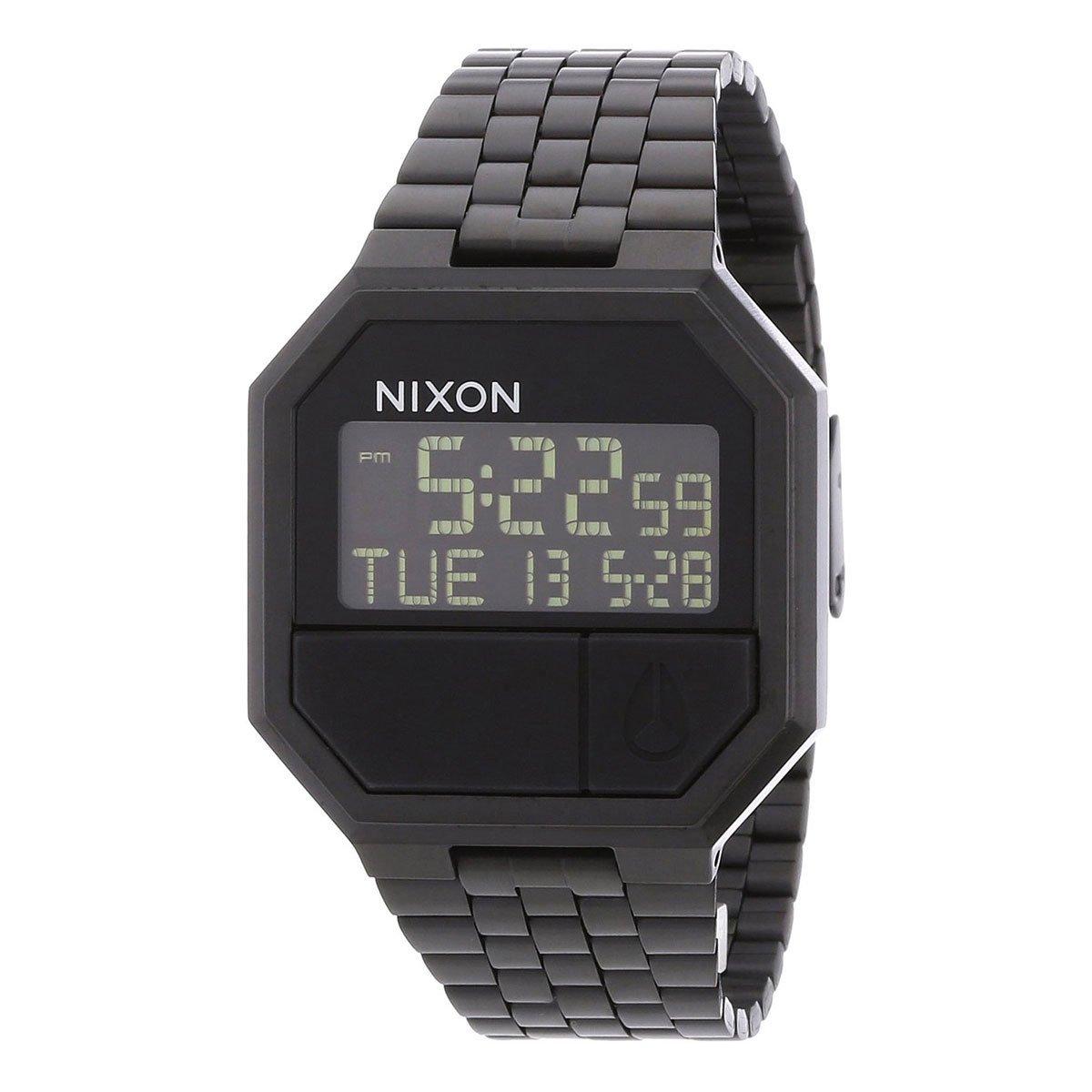 Nixon Re-Run A158. 100m Water Resistant Men's Digital All Black Watch (38.5mm Digital Watch Face. 13-18mm Stainless Steel Band)