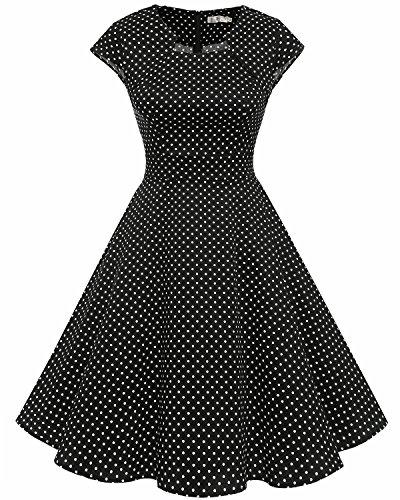 Homrain Women's 1950s Retro Vintage A-Line Cap Sleeve Cocktail Swing Party Dress Black Small White Dot 2XL