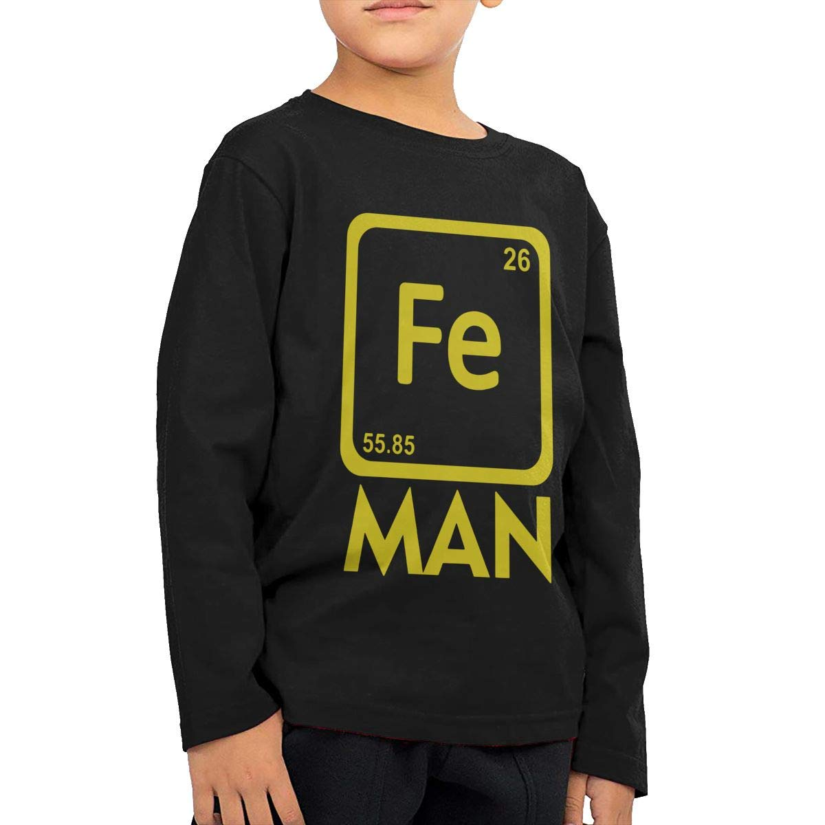 SKYAKLJA Iron Science Fe Periodic Table Childrens Black Cotton Long Sleeve Round Neck Tee Shirt for Boy Or Girl