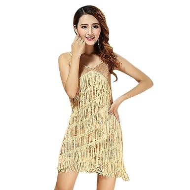 db90b53e41f2e KINDOYO Femmes sans Manches V Cou Paillettes Gland Costumes de Danse Latine  Salsa Tango De Robe