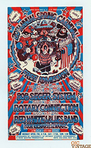 Michigan State Fair Handbill Bob Seger 1969 Mar 1 Carl Lungren