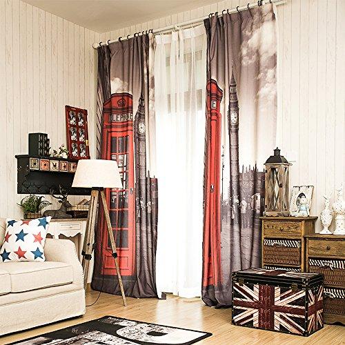 KARUILU home 51.2-Inch-by-102.4-Inch Window Curtain, 1-Piece, London