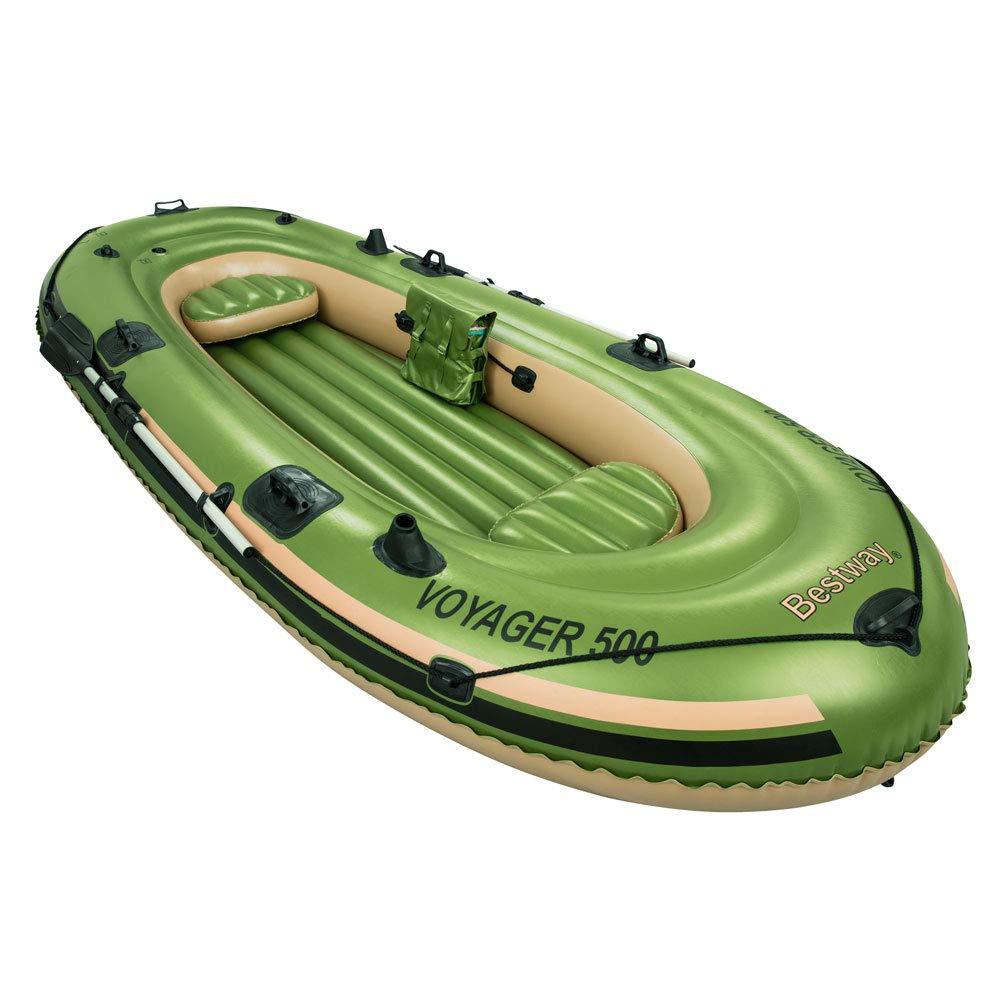 Bestway 65001 - Barca hinchable Voyager 500, para 3 personas, 348 x 142 cm, incluye remos de plástico Kovyx Outdoor Amazon ES 65001B