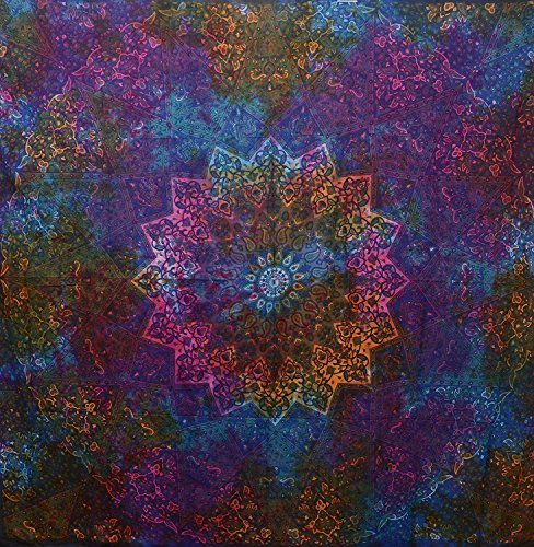 (Popular Handicrafts Tie Dye Bohemian Tapestry Elephant Star Mandala Tapestry Wall Hangings Boho Tapestry Hippie Hippy Tapestry Beach Coverlet Curtain 90x84 Inches Blue Tye Dye Multi Color)