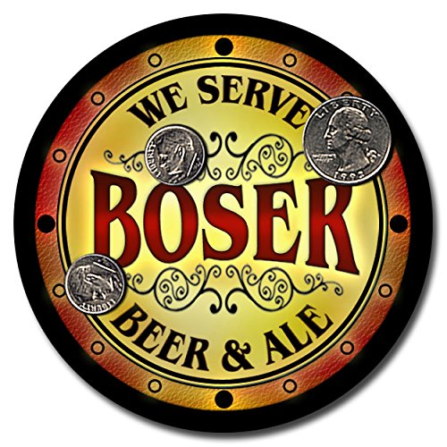 boser-family-name-beer-and-ale-rubber-drink-coasters-set-of-4