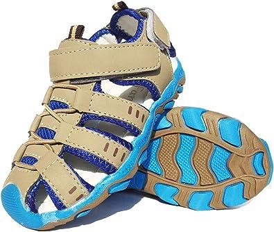 Sandales Bout Fermé Mixte Enfant Été Sandales de Marche Extérieur Plates Souple Semelle Chaussures Filles garçons Plage Tongs Antidérapant