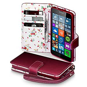 Microsoft Lumia 640 Case, Terrapin [Red] [Floral Interior] Premium PU Leather Wallet Case with Card Slots Cash Compartment and Detachable Wrist Strap for Microsoft Lumia 640 - Red by TERRAPIN