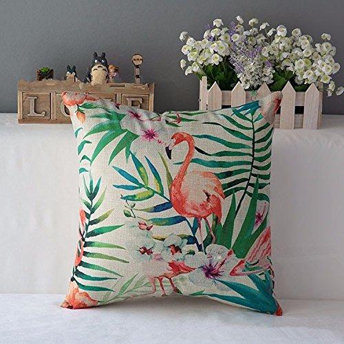 (NO2)Flower Flamingo Series Cushion Cover Printed Square Pink Flamingo Cotton Linen Sofa Animal Home Decorative Throw Pillow Cover